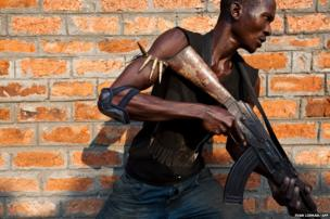 An anti-balaka militiamen, who was a former member of the Central African Armed Forces (FACA), takes part in a training session on the outskirts of Bangui