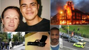 Clockwise left to right: Mark Duggan with his mother Pamela, a building on fire in Tottenham, scene of the shooting, Kevin Hutchinson-Foster, a gun and the inquest jury visits the scene
