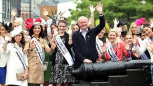 """Deputy First Minister Martin McGuinness said it was """"the start of a momentous week for the city, the north west, and for everyone in Ireland"""". Mr McGuinness is pictured here with The Roses as part of the International Rose of Tralee Tour which visited Derry as part of the Fleadh."""