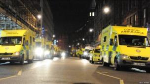 Parked row of ambulances