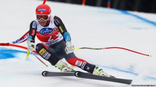 Bode Miller of the US clears a gate during the men's World Cup Super-G skiing race