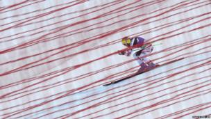 Austria's Andrea Fischbacher at the Women's World Cup Downhill in Val d'Isere in the French Alps