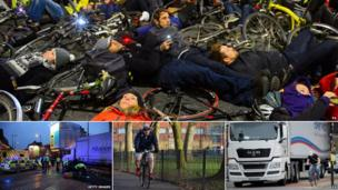"""Top: Cycling """"die-in"""" protest, scene of a collision in Camden, London Mayor Boris Johnson cycling and a cyclist riding next to a lorry"""