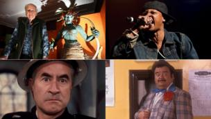 Clockwise from top left: Ray Harryhausen, Chris Kelly, Paul Shane, Bill Pertwee