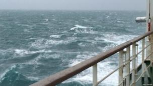 Crossing the channel on the last ferry from Poole to Cherbourg