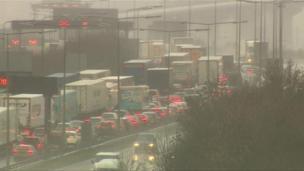 Cars queue at the Dartford Crossing in Kent