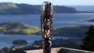 The Queen's Baton stands at the top of Larnach Castle in Dunedin, New Zealand.