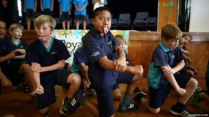 The Haka, or 'War Dance' as performed by students from the Royal Oak Primary School, during the baton's visit to Auckland, New Zealand.