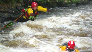 A 'live bait rescue' during a swift water training exercise in North Wales