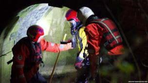 Members of GMFRS' Water Incident Unit search for a girl in a network of tunnels in Bury