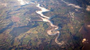 The Wye Valley as seen from a transatlantic flight