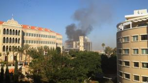 Smoke rises from a building in Beirut, Lebanon (Dec. 27, 2013)