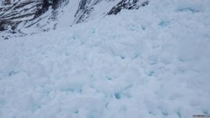 Avalanche debris on Ben Nevis