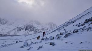 Cross country skier in Northern Cairngorms