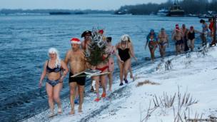 Members of a winter swimming club