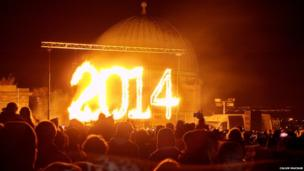 Number 2014 lit up in fire. Photo: Calum Macnab