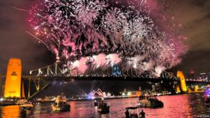 Fireworks over Sydney Harbour Bridge. Photo: Alan Davis
