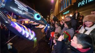 Crowds watch the displays at the Newcastle New Year's Eve Winter Carnival