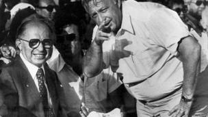 Ariel Sharon, as defence minister, with Prime Minister Menachem Begin in 1981