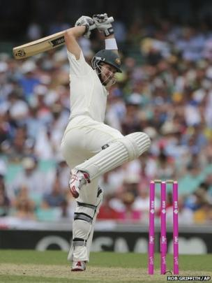 Australia's Shane Watson avoids the ball during their Ashes cricket test match against England at the Sydney Cricket Ground