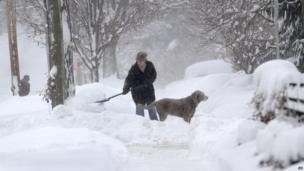 Michelle Kottke shovels snow with the help of her dog Harlee in Barrington, Ill., Thursday, Jan. 2, 2014.