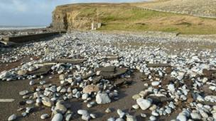 Storm debris and stones at Southerndown car park, Vale of Glamorgan
