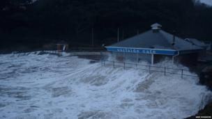 Jane Hosgood pictured the Surfside Cafe at Caswell Bay being battered by waves