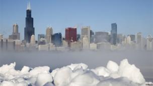 Chicago skyline over Lake Michigan (7 Jan 2014)
