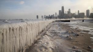 Frozen Lake Michigan and beach in Chicago