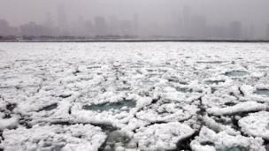 Ice on Lake Michigan