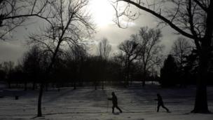 People skiing in park
