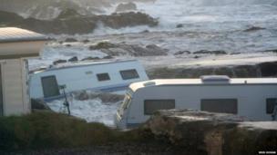 Brid Moran photographed the waves crashing against caravans parked at Wavecrest Caravan Park in County Kerry.