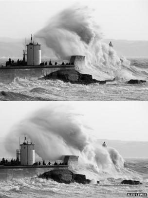 Waves hit Porthcawl lighthouse
