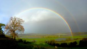 A rainbow over Flemingston Moor in Vale of Glamorgan