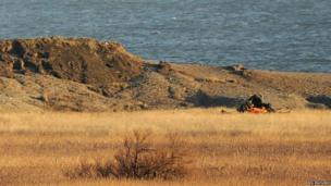 Scene of HH-60G Pave Hawk helicopter crash on Cley marshes, Norfolk