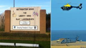 Sign outside RAF Lakenheath/Site of Cley next the Sea helicopter crash