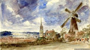 Petworth church and windmill, with Petworth House beyond, by John Constable. Pencil and watercolour on paper