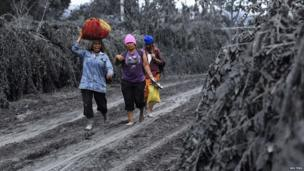 People walking on ash-covered path