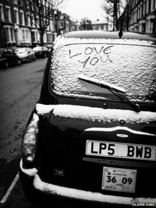 Taxi in the snow