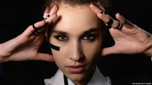 A model poses backstage at the Anne Gorke show during Mercedes-Benz Fashion Week