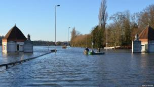 Flooded Runnymede in Surrey. Photo: Marcia Moore.