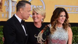 Tom Hanks, along with his wife Rita Wilson and Emma Thompson