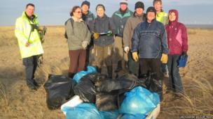 The volunteers who took part in the beach clean