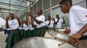 Children play music as part of the baton celebrations during a visit to Dar es Salaam, Tanzania.