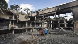 The rubble from the damaged Westgate shopping centre in Nairobi, Kenya, on 21 January 2014