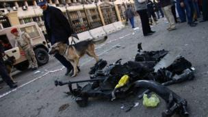Police dog and burned out wreckage at site of explosion in Cairo (24 Jan 2014)