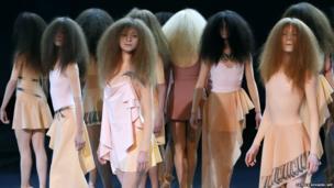 Models on the catwalk in Paris