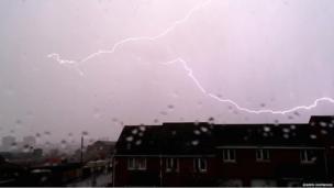 Lightning over Stoke-on-Trent. Photo: Joseph Hopwood