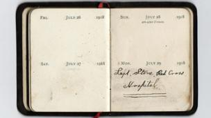 Diary reads: July 29 1918 - left Stone Red Cross Hospital.