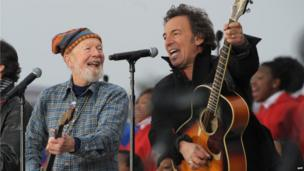 Singing President Obama into office, Pete Seeger, left, and Bruce Springsteen, right, performing during the We are One Inaugural Celebration at the Lincoln Memorial on 18 January 2009 in Washington
